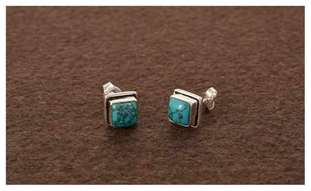 Free Shipping Handmade Lab. Turquoise Ear Stud for woman aadb8ac1-1671-4a50-96bf-c08f7176a2df