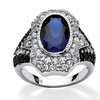 5.65 TCW Oval-Cut Simulated Sapphire Art Deco-Inspired Ring