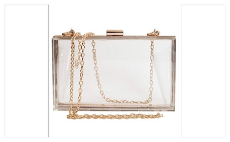 Clear Acrylic Box Clutch Crossbody Purse (Goods Women's Fashion Accessories Handbags Cross-Body) photo