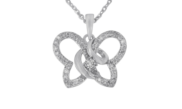 Gift Sterling Silver Rhodium Plated Diamond Butterfly Pendant