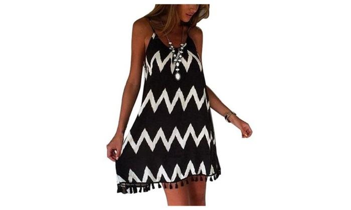Womens Chiffon Top Tassel Wave Print Beach Spaghetti Strap Short Dress