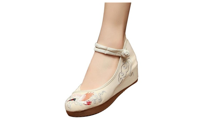 Women's Handmade Embroidered Crane Wedge Mary Jane Shoes