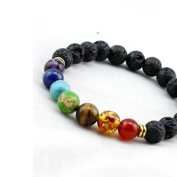 716da60955f 7 Genuine Chakra Healing Natural Stone Bead Bracelet | Groupon