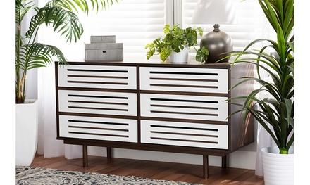 Meike Two-Tone Walnut Brown and White Wood 6-Drawer Dresser