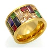 Trendy Rainbow Stone Stainless Steel Crystal Ring for Women
