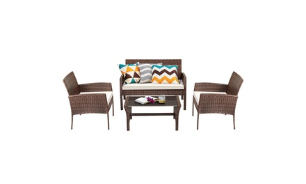 Costway 4 Piece Brown Patio Furniture Chair Sofa Set