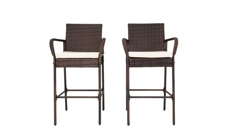 2Pcs Patio Outdoor Wicker High Chair Barstool Set Pool w/Free Cushions 4c265fc0-ff5c-426b-a08c-6b7fa0087e80