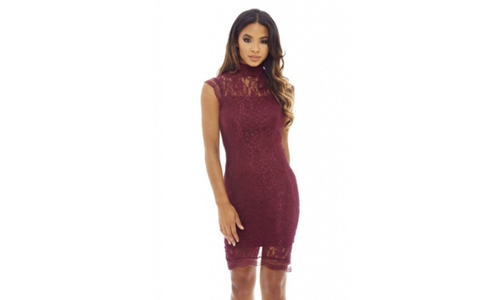AX Paris Women's High neck capped sleeve lace bodycon  dress