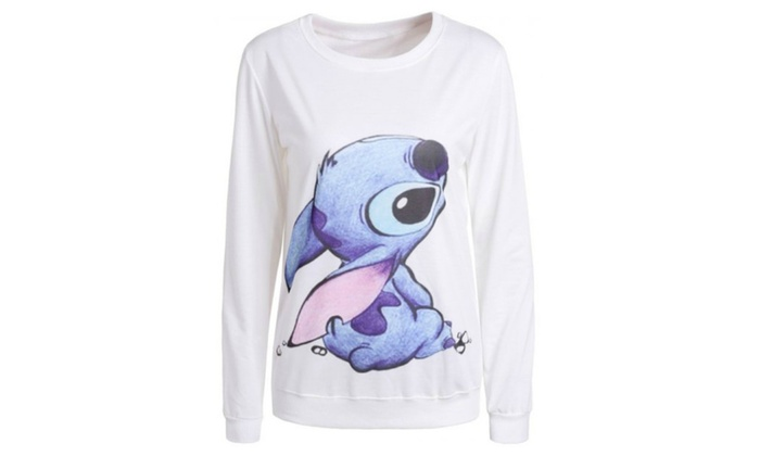 Cartoon Print Stitch Sweatshirt