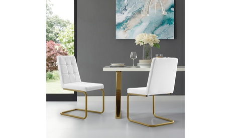 Dillinger Biscuit Tufted Armless Chrome or Gold Frame Dining Chair (Set of 2)