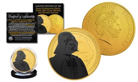 2017 1oz Pure Silver BU Star Wars 24K Gold Clad Coin Black Ruthenium DARTH VADER 8b39949c-301e-4114-ac54-50d80a1c19e7