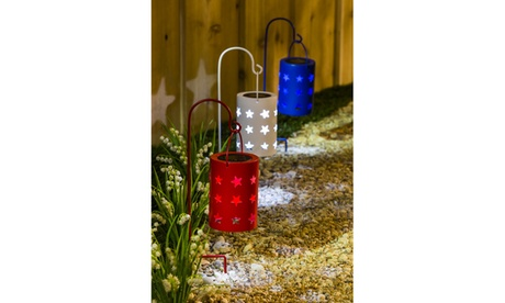 Americana Solar Lantern with Shepherd's Hook (3 set) c75bfe83-cdec-4c4b-896c-38f4afd99af6