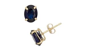 De Couer 14k Yellow Gold 5/8ct T.W. Genuine Sapphire Stud Earrings