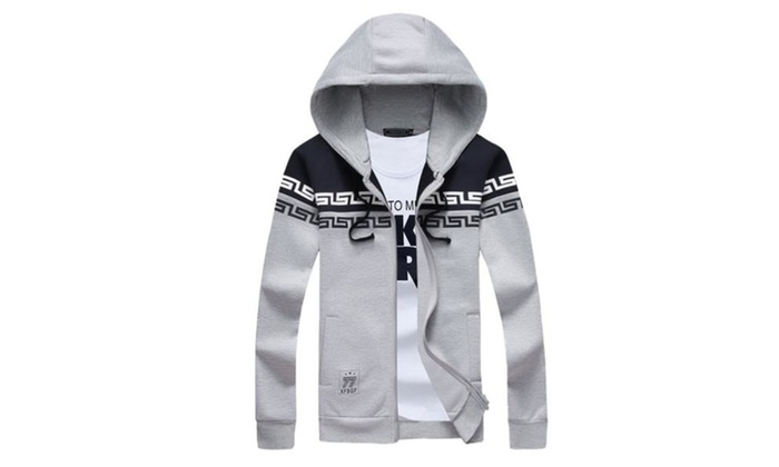 Men's Spring Fashion Fangle Hoodie Printing Fleece Lightweight Jacket