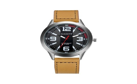 New Luxury Men Faux Leather Large Dial Military Watch 31d3ba41-5627-4ead-8bc7-799e29e862b0
