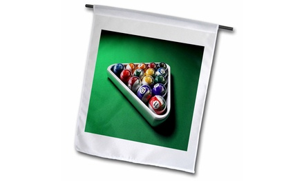 Garden Flag Image of Ballard Balls On Pool Table - 18 by 27-inches