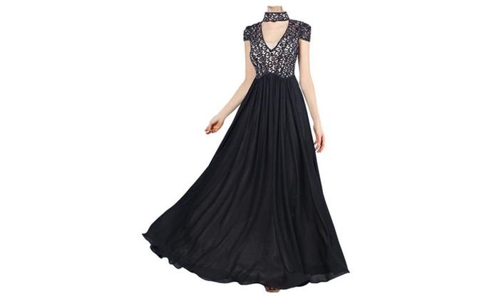 Women's V Neck Cut Out Short Sleeve Full Length Cocktail Prom Dresses