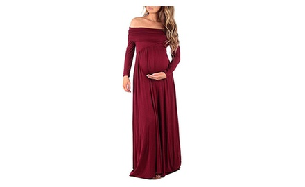 Women's Ruched Maternity Dress Slim Fit Maxi Photography Sundress