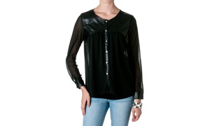 Freebird Faux Leather Semi Sheer Blouse BACB2527