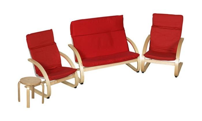 Clickhere2shop: ECR4Kids Bentwood 4 Piece Comfort Living Room Set