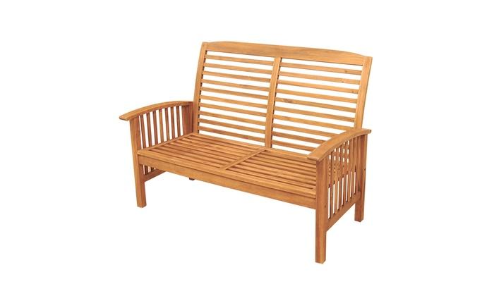 Amazing Acacia Wood Patio Loveseat Bench Brown Groupon Machost Co Dining Chair Design Ideas Machostcouk