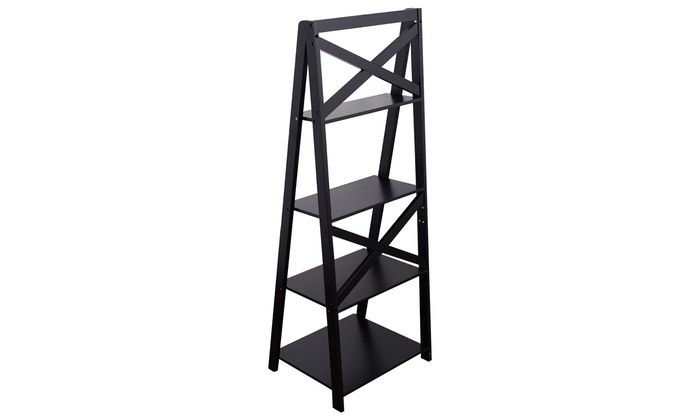 Costway 4 Tier Ladder Shelf Bookshelf Bookcase Storage Display Leaning
