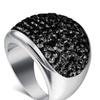 Austria Black Crystal Stainless Steel Women's Ring