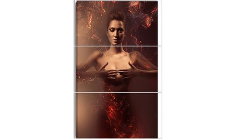 Sensual Nude Woman in Fire Contemporary Metal Wall Art 28x36 3 Panels e3669cb2-e799-46e1-b84e-ac74e4841fb5