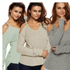 Hellochic Women's Cold Shoulder Knit Long Sleeves Sweater