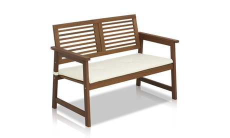 Furinno Tioman Hardwood Outdoor Bench in Teak Oil with White Cushion 7f0d92f3-144e-4562-82d9-102769fddaaa