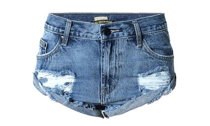 Women's Ripped Destroyed Washed Cuff Off Denim Shorts Jeans