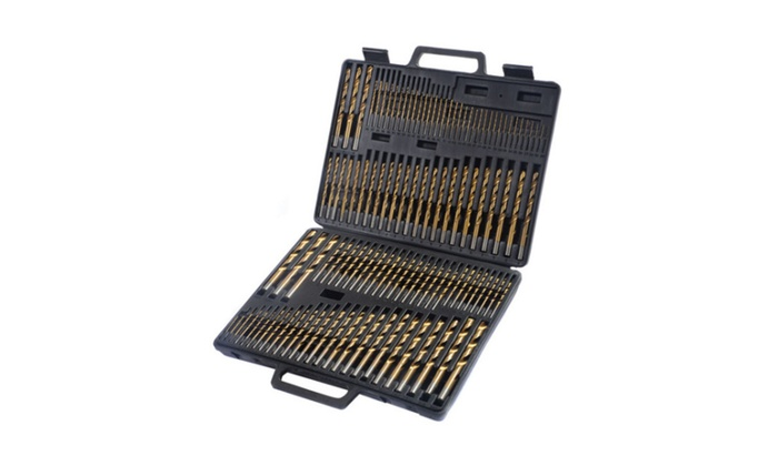 HSS High Speed Steel Titanium Drill Bit Set Metal w/ Index Carry Case - 115 Pcs