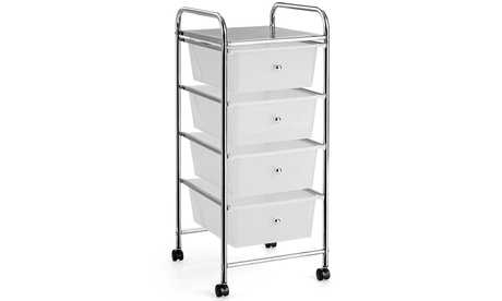 Costway 4-Drawer Cart Storage Bin Organizer Rolling w/Plastic Drawers Clear