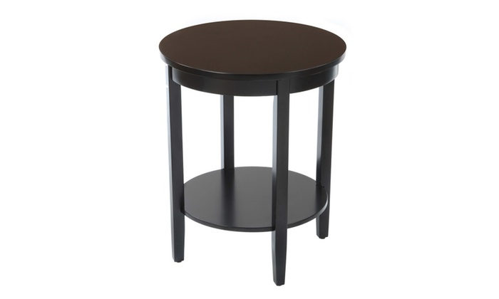 Round accent table with wood top black groupon