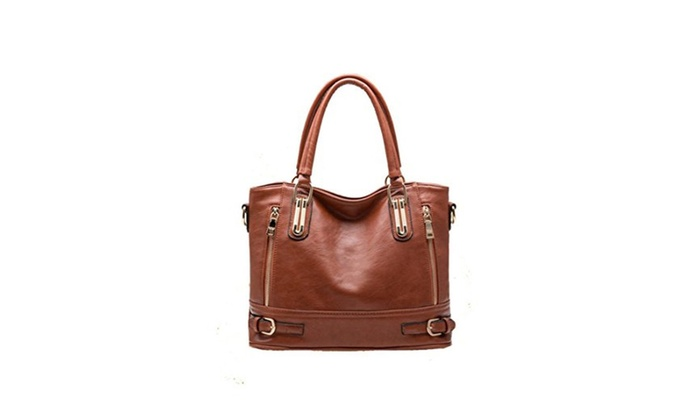 Women's Large Capacity Leather Zipper Satchel Handbags Tote Bags - brown / brown