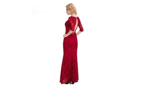 Women's Lace Dress 3/4 Sleeve Elegant Floral Lace Party Maxi Dress e76785f0-18a5-4741-aab0-b30db3d7ccb6