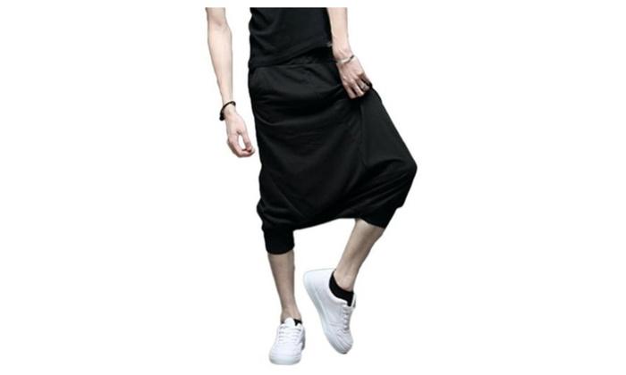 JIES Men's Harem Elastic Hit-hop Pants Sports Dance Shorts