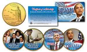 Barack Obama Presidential 24KT Gold Plated Hawaii Statehood Quarter 4-Coin Set
