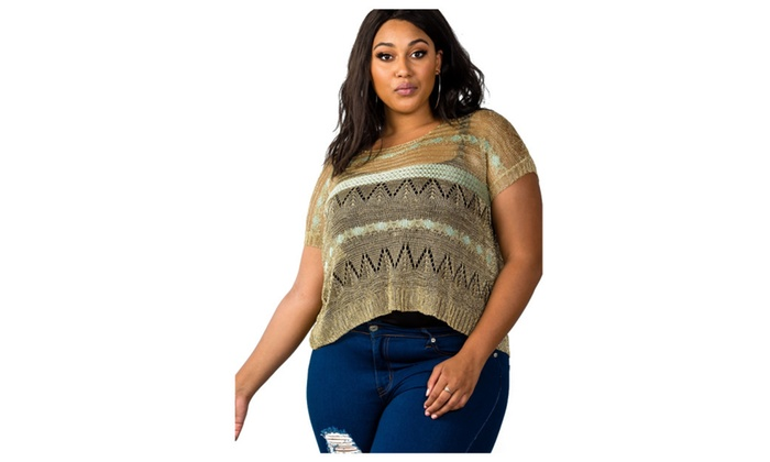 f313c78a2c8 Plus Size Dropped Shoulders Gold Metallic Knitted Top ...