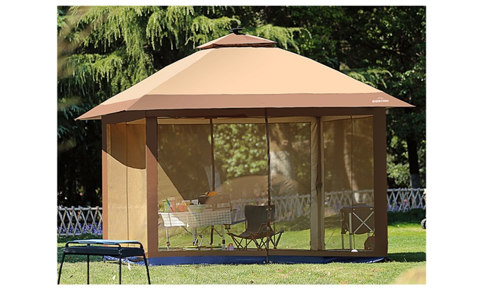 Suntime 12 X 12 Outdoor Gazebo Canopy With Mosquito Netting And