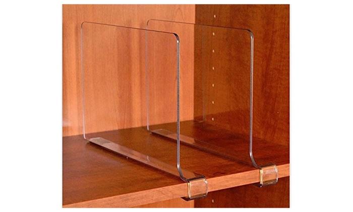 ClosetMate Beautiful Acrylic Shelf Dividers, Closet Shelves, Pack of 2