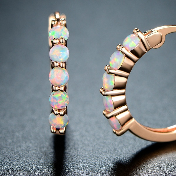 Created White Opal /& Pink Sapphire Cuff Bracelet in 18K Rose Gold-Plated Silver