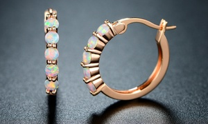 Peermont 18K Rose Gold Plating and White Fire Opal Hoop Earrings