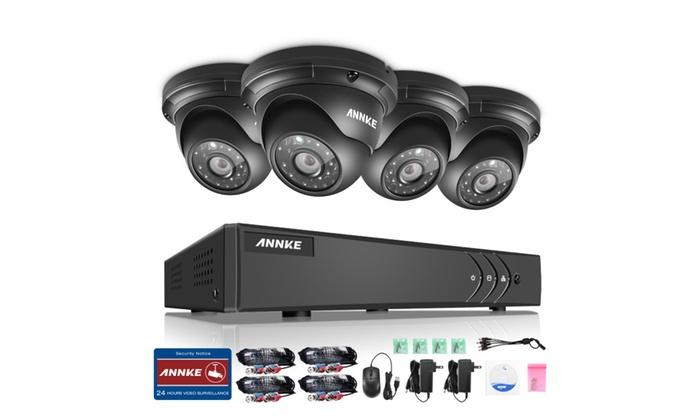 ANNKE1080p Video Security System with 4 1.3MP Weatherproof Camera Dome - No 1 TB HDD / With 1 TB HDD