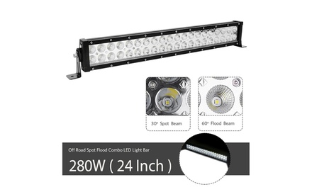 """24inch LED Light Bar Spot Flood Combo 2x 4/"""" Pods For Jeep Ford SUV 4WD UTE 20"""