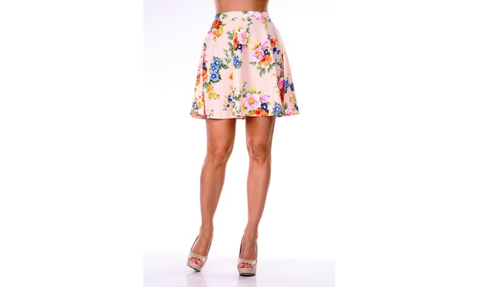 Soft Coral Flowers Heidi' Flare Skirt