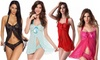Women Sexy Lingerie Floral Lace V Neck Halter Mesh Chemise Sleepwear Strap Bow