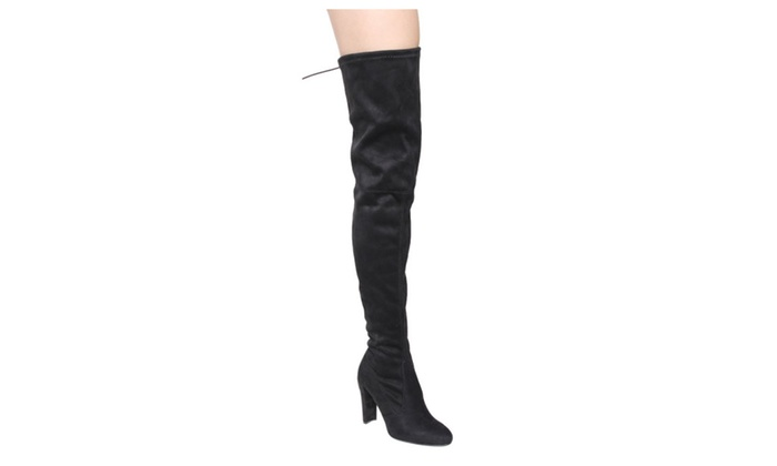 Beston FF18 Women's Drawstring Stretchy Over The Knee Block Heel Boots