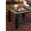 Pure Garden 30 inch Square Fire Pit and Table with Cover