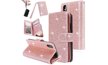 Flip Leather Bling Glitter Wallet Case Stand for iPhone X, 7/8, 7 Plus